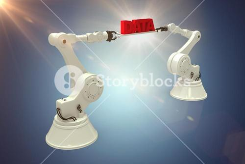Composite image of digitally composite image of robotic hands holding red data text