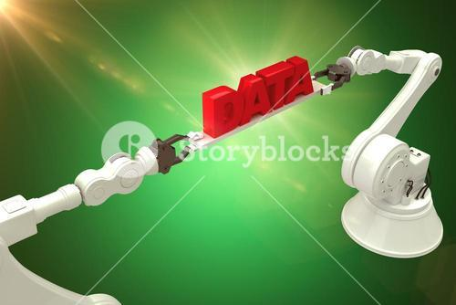 Composite image of metallic robotic hands holding red data text over green background