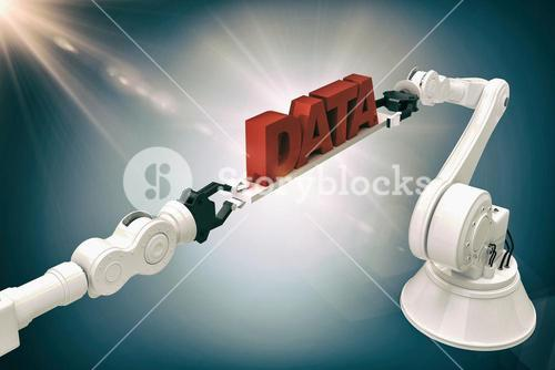 Composite image of robotic hands holding data text over grey background
