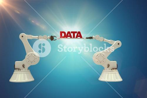 Composite image of robotic hands holding red data message against blue background