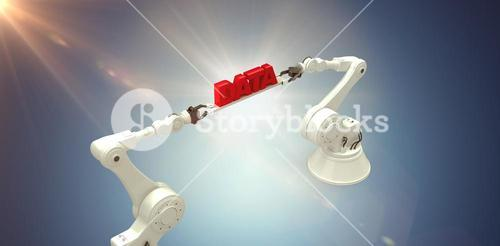 Composite image of robotic hands holding red data message over white background