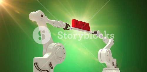 Composite image of metal robotic hands holding red data message against white background