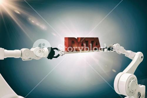 Composite image of white robotic hands holding red data message against grey background