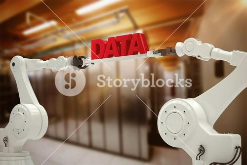 Composite image of metallic robotic hands holding red data message