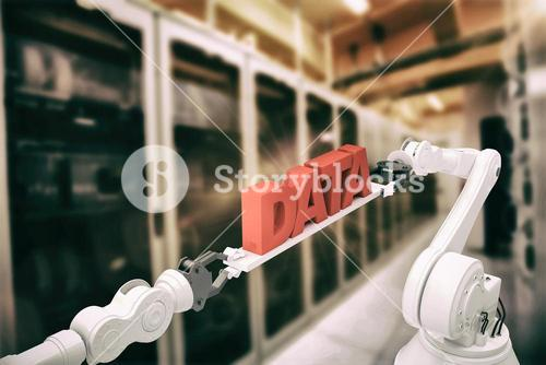 Composite image of robotic hands holding data text