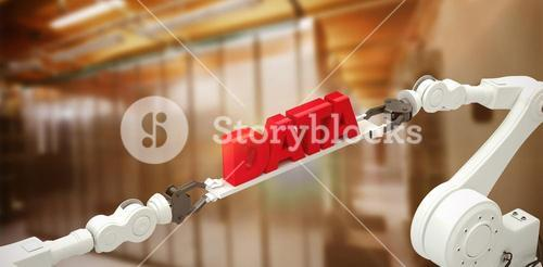 Composite image of robotic hands holding red data message