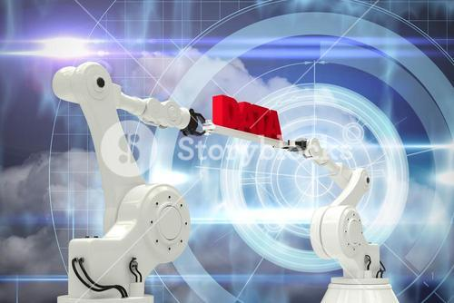 Composite image of metal robotic hands holding red data message