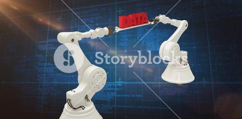 Composite image of white robotic hands holding red data message