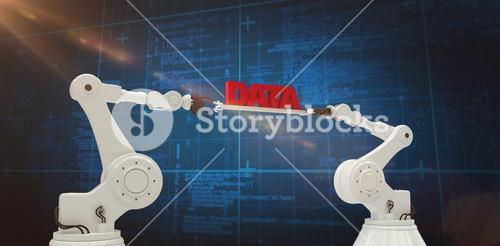 Composite image of robotic hands holding red data text