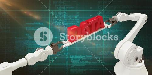 Composite image of metallic robotic hands holding red data text