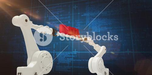 Composite image of metal robotic hands holding red data message against blue background