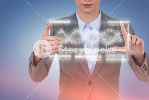 Composite image of businesswoman hand gesturing