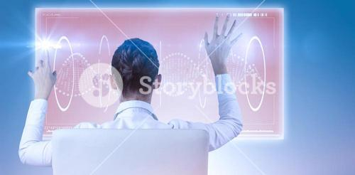 Composite image of rear view of businesswoman using digital screen