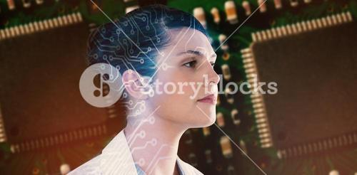 Composite image of close-up of thoughtful female scientist looking away