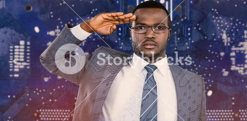 Composite image of close-up of businessman saluting