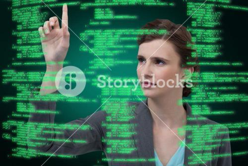 Composite image of businesswoman with arms raised while using digital screen