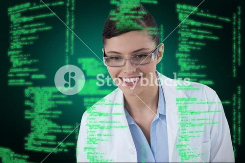Composite image of female doctor smiling against white background