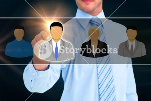 Composite image of businessman in shirt pointing with his finger