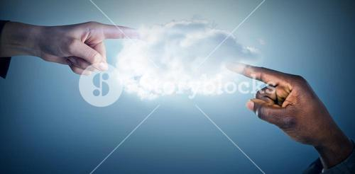 Composite image of hand pointing against white background