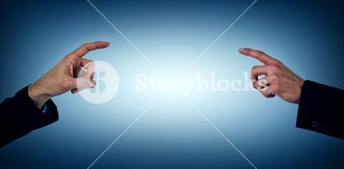 Composite image of businessman hand gesturing