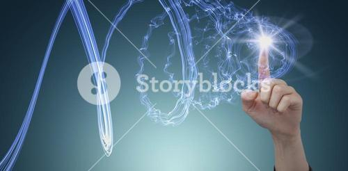 Composite image of businesswoman hand using digital screen