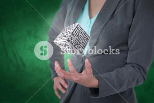 Composite image of businesswoman gesturing against green background