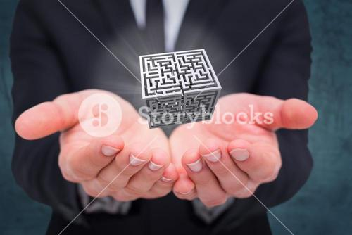 Composite image of mid section of a businessman gesturing