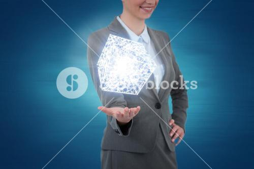 Composite image of businesswoman gesturing on blue background