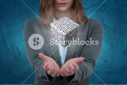 Composite image of businesswoman gesturing against blue background