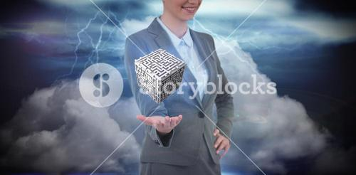 Composite image of businesswoman gesturing against apocalyptic background