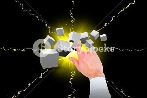 Composite image of businessman touching invisible screen