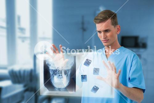 Composite image of male surgeon touching invisible screen 3d