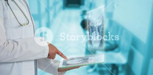 Composite image of midsection of female doctor using glass as imaginative digital tablet 3d