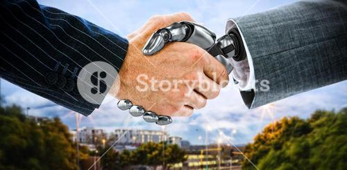 Composite image of cropped image of businessman shaking hand of robot 3d