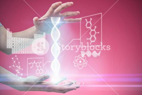 Composite image of hands gesturing against pink background
