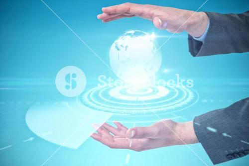 Composite image of close-up of business hands gesturing