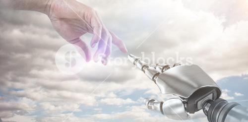 Composite image of hand of man pretending to touch an invisible screen