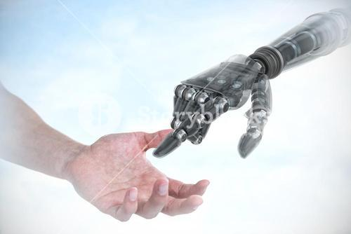 Composite image of hand of man pretending to hold an invisible object