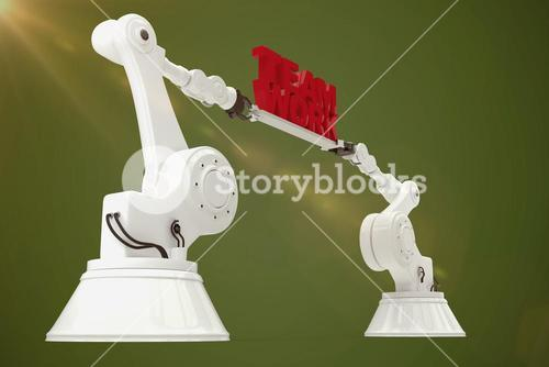 Composite image of low angle view of white robotic hand holding team work text