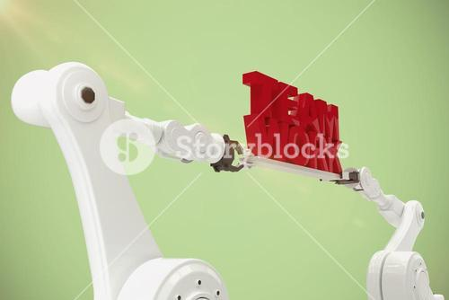 Composite image of computer graphic image of robotic hand holding team work text