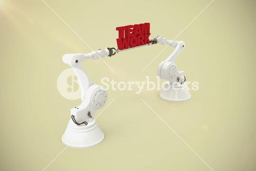 Composite image of metallic robotic hand holding team work text over white background