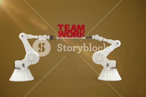 Composite image of digitally composite image of robotic hand holding red team work text