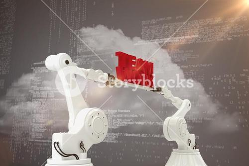 Composite image of hands holding team work message on grey background