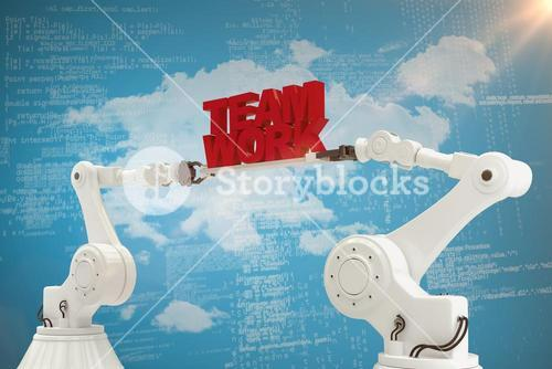 Composite image of mechanical hands holding team work message on blue background