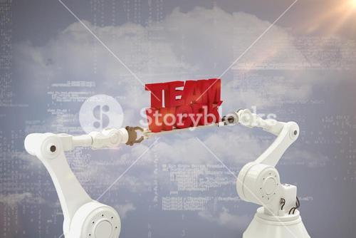 Composite image of mechanical hands holding red team work message over grey background