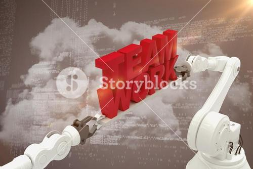 Composite image of robotic hand holding red team work text