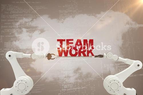 Composite image of robotic hand holding red team work text over beige background