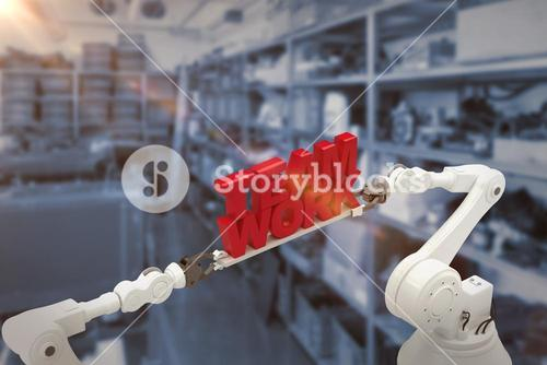 Composite image of robotic hand holding team work message against white background