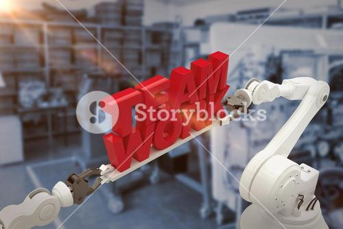 Composite image of close-up of robotic hand holding team work message