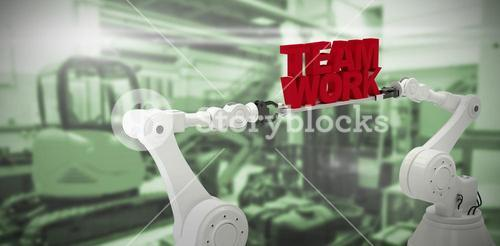 Composite image of mechanical hands holding red team work message over white background